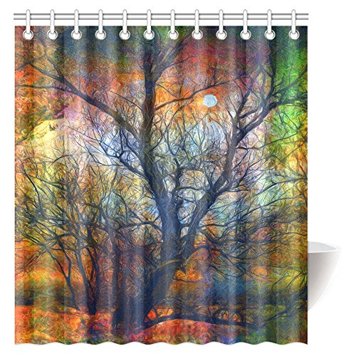 InterestPrint Tree Landscape Painting Shower Curtain, Colorful Tree and the Moon on Spooky Autumn Night Bathroom Shower Curtain Set with Hooks, 66 X 72 Inches (Autumn Shower Curtain 66)