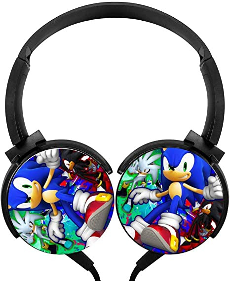 Amazon Com Portable Headset Sonic The Hedg Ehog Stereo Headphones Wired Soft Over Ear Earphones Electronics