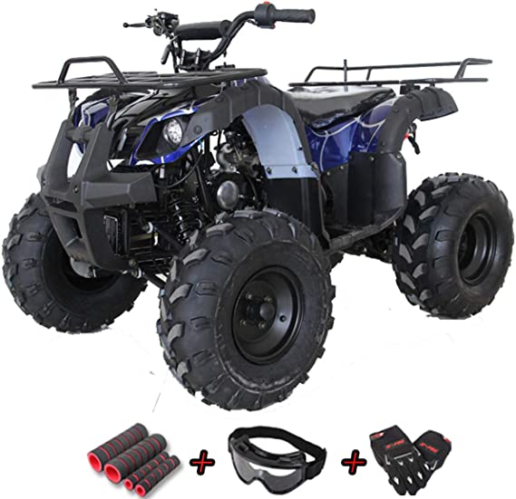 X-PRO ATV for Sale 125cc ATV Quad Youth 4 Wheeler ATVs Big Kids Adults ATV Four Wheelers with Big Shining LED Headlight and Remote Control(Spider Blue)