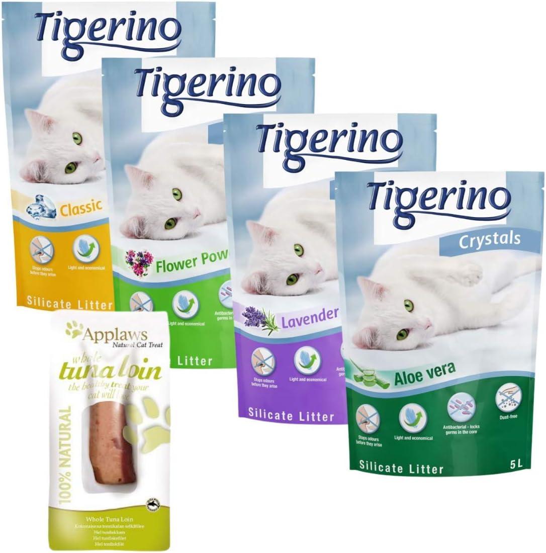 Tigerino Crystals - Juego de arena para gatos (6 x 5 L, para evitar olores en segundos, antibacteriano, compostable y respetuoso con el medio ambiente, incluye lomo de atún para gatos