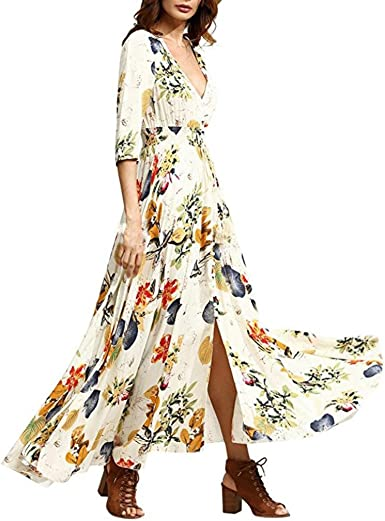 Vestido de Verano de Mujer, Dragon868 2020 Vestidos Largos Casual Bohemia Floral Beach Party Vestido Largo Casual para niñas Bohemios Mujeres: Amazon.es: Ropa y accesorios
