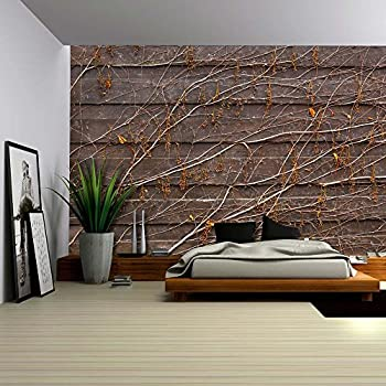 Wall26 orange vines draping on a wood panel for Removable wallpaper wood paneling