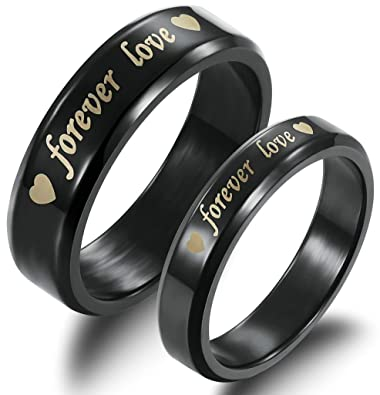 Black Wedding Bands For Men | Anazoz Stainless Steel Black Wedding Band Forever Love Engraved