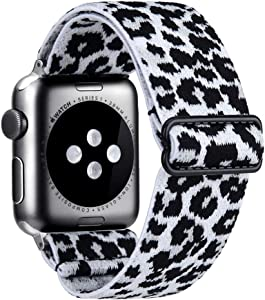 Elastic Watch Band Compatible With Apple Watch 38mm 40mm 42mm 44mm,Stretch Elastics Wristbelt Replacement Wristband For iWatch Series 6/5/4/3/2/1 (White Leopard, 38MM/40MM)