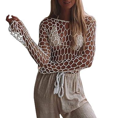 4f35770888 Summer Crochet Beach Cover Ups, Malbaba Eyelet Long Sleeve Swimsuit Bikini  Beach Swimwear Cover up at Amazon Women's Clothing store: