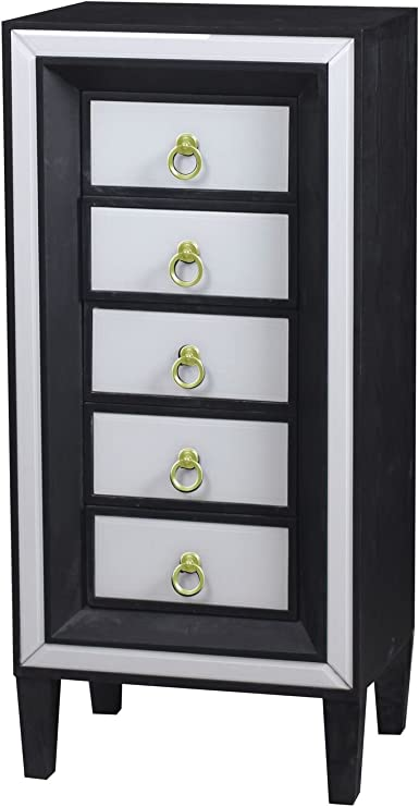 Statements By J Beverly 5 Drawer Lingerie Chest Tall Black White Gold Furniture Decor Amazon Com