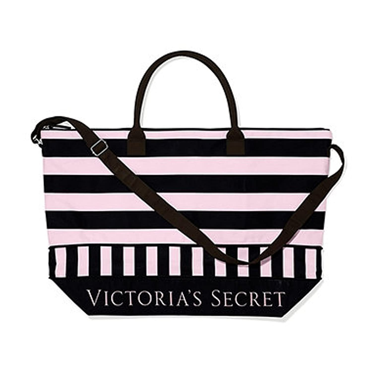 Amazon.com | Victoria's Secret Expandable Pink Black Weekender ...