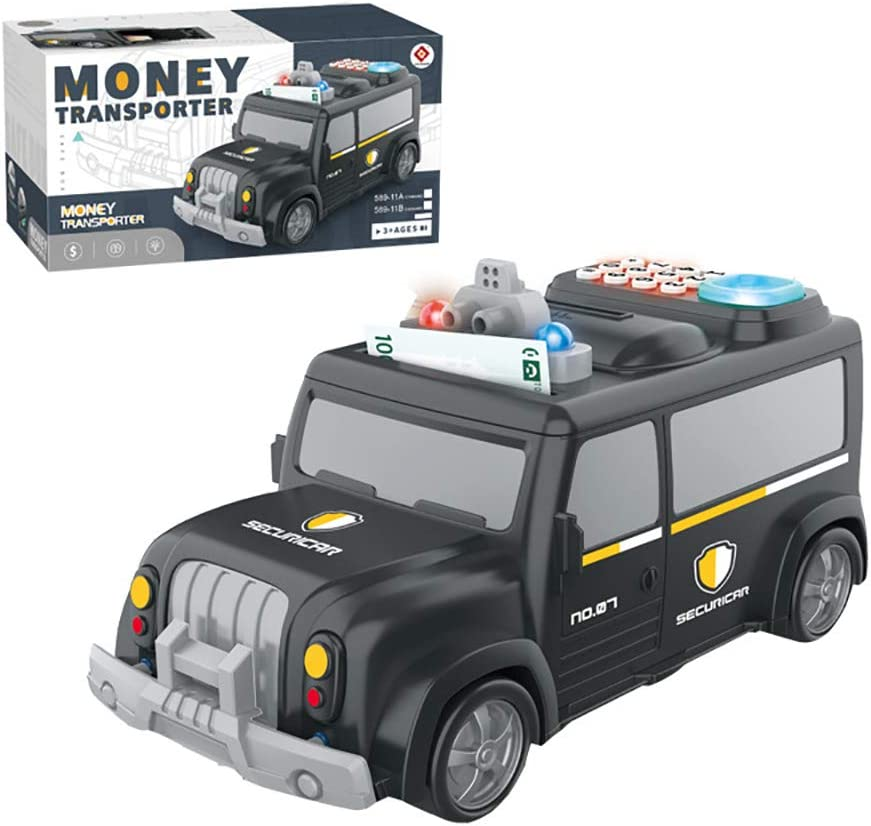 Kids Car Password Piggy Bank Cool Armored Cash Car Coin Bank ATM Piggy Bank for Kids Money Bank Car Gift Toys with Music /& Auto Scroll Paper for Boys Girls Kids Children Jhua Electronic Piggy Bank