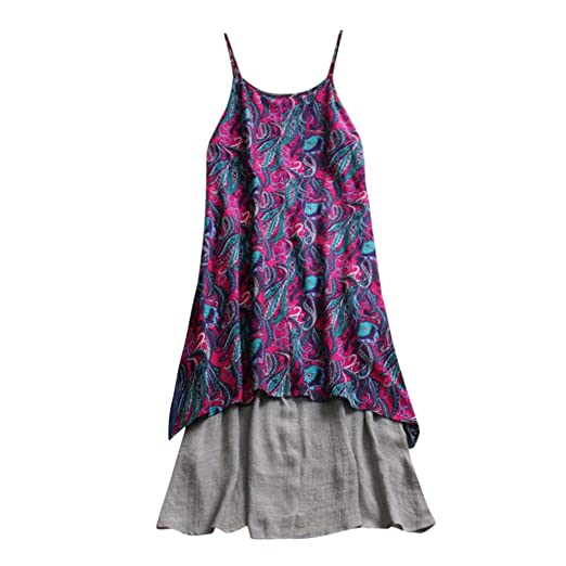 a7cdf18b56b Amazon.com  Boho Dresses for Women Plus Size Bohemian Floral Summer Beach Dress  Sleeveless Spaghetti Strap Midi Dress Linen  Clothing