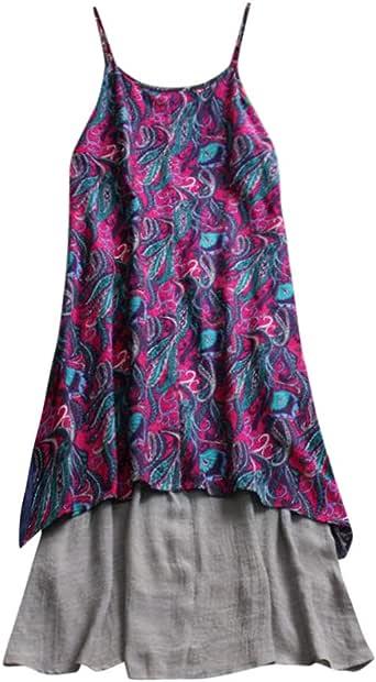 Women Plus Size Linen Sleeveless Sling Kaftan Baggy Print Long Maxi Dress