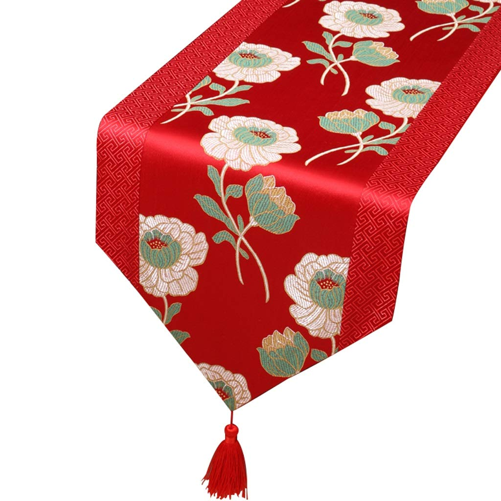 Xiaoping Microfiber Damask Swirl Table Flag (Rojo, Flor de la Planta) (Color : 33 * 150cm)