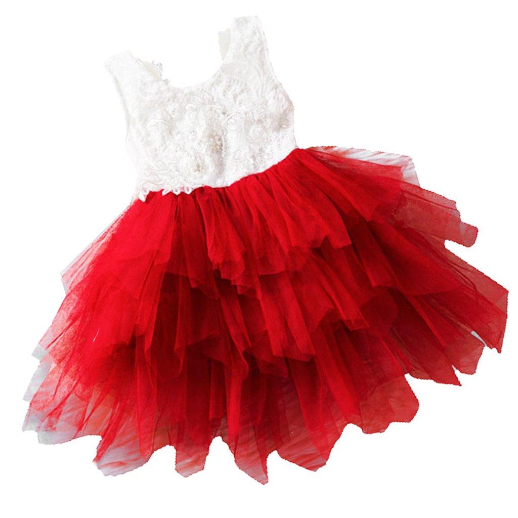 Dolity Vestido De Cumpleaños de Niñas Accesoriso de Hogar ocasión de vacaciones Bebé - rojo, 1T