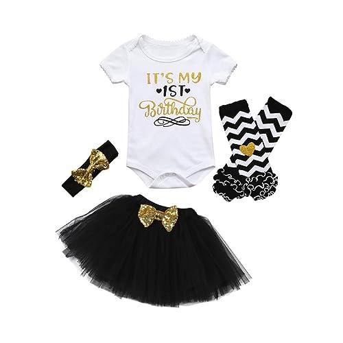 dbe7cef01edb 4 Piece Toddler Baby Girl Ruffle Bodysuit Bow Tutu Skirt Newborn Infant  Outfit Clothes Set (