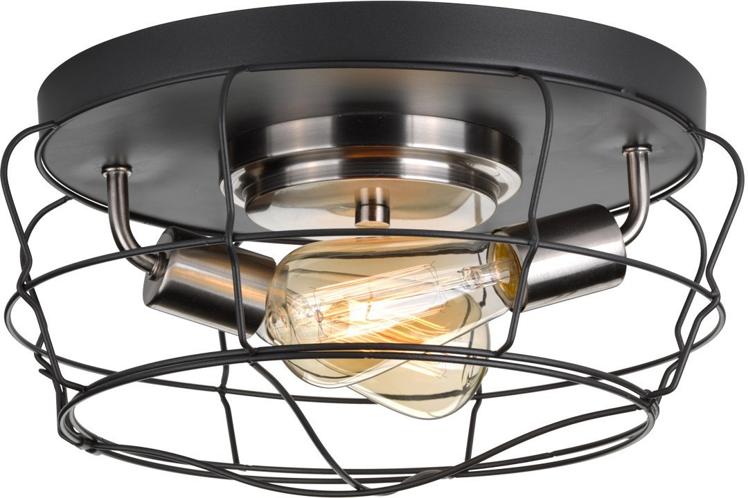 Luxury Vintage Ceiling Fixture, Medium Size: 6.75''H x 14''W, with Contemporary Style Elements, Charcoal Finish, UHP2423 from The Syracuse Collection by Urban Ambiance