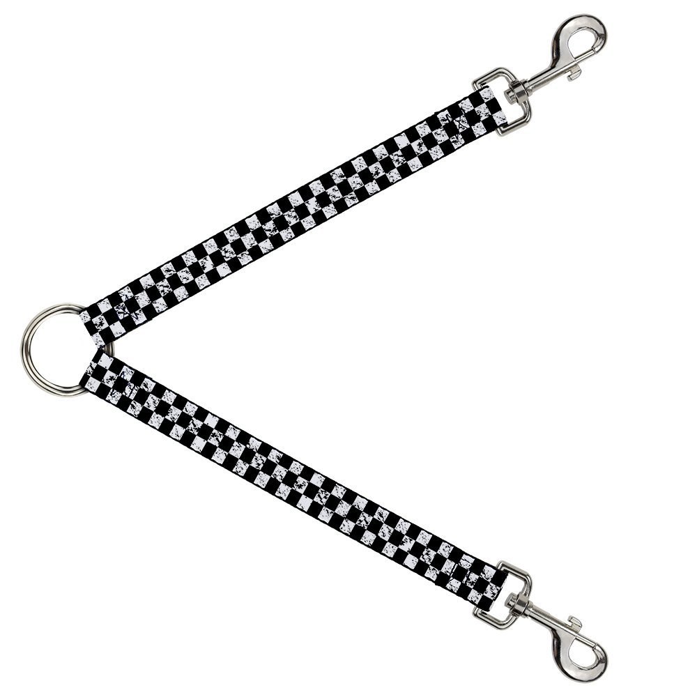 Buckle-Down DLS-W32994 Leash Splitter-Checker Weathered2 Black White, 1  W-30  L
