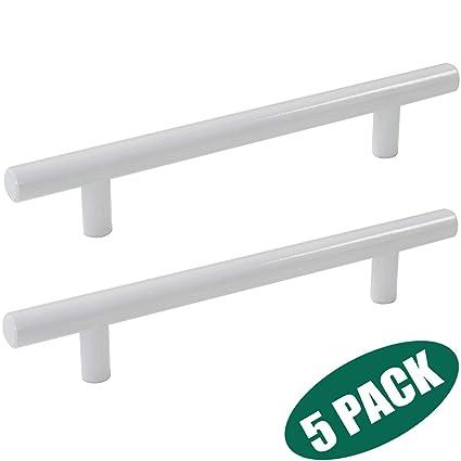 Probrico 5 Hole Centers White Kitchen Cabinet Pulls Modern Stainless Steel Euro Round T Bar Handles Furniture Cabinet Hardware Cupboard Knobs 5 Pack