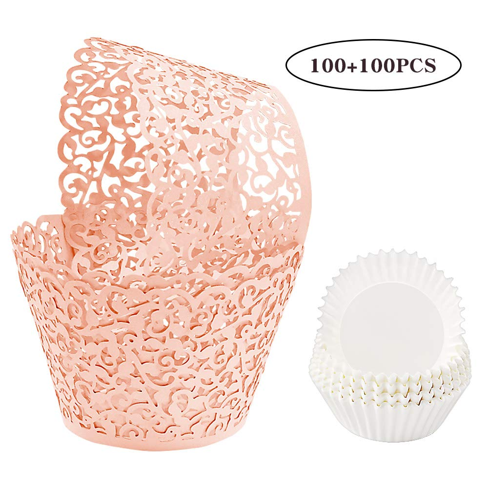 BAKHUK 200pcs Pink Lace Cupcake Wrapper Liners, Laser Baking Cups Holders Muffin Case Trays for Baby Shower Wedding Birthday Party Decoration by BAKHUK