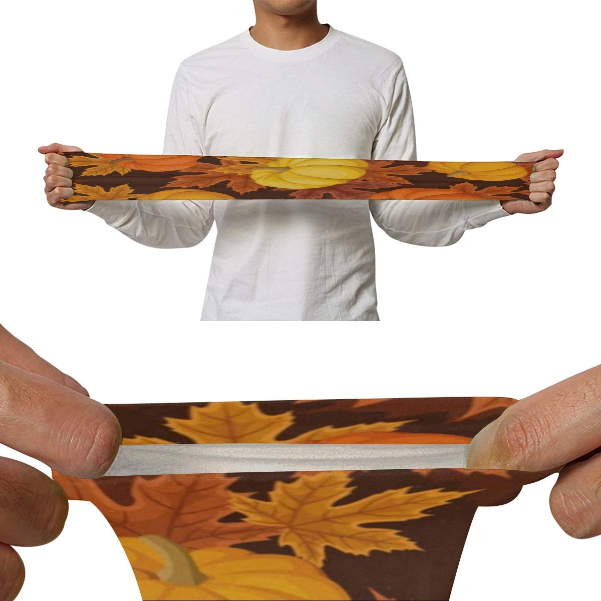 Arm Sleeves Pumpkins and Autumn Maple Leaves Mens Sun UV Protection Sleeves Arm Warmers Cool Long Set Covers White