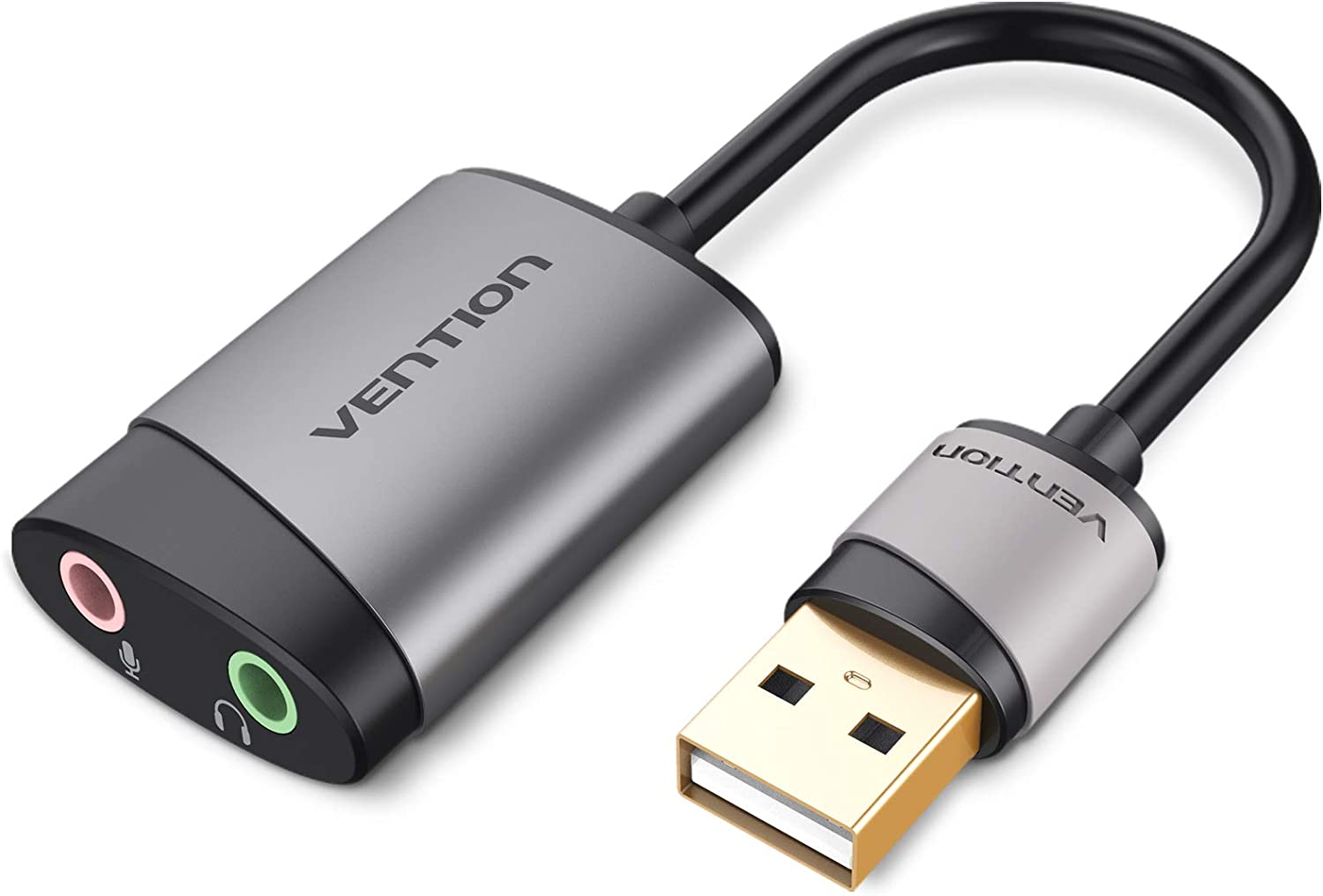 Amazon Com Vention Usb External Sound Card To 3 5mm Audio Jack Adapter Headphone And Microphone Compatible With Windows Mac Linux Laptop Desktops Ps5 Computers Accessories