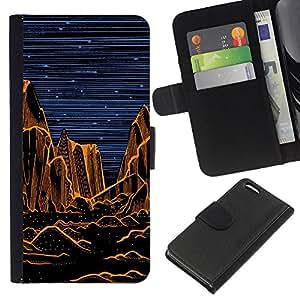 KingStore / Leather Etui en cuir / Apple Iphone 5C / Grand Desert Noche Pintura Naranja;