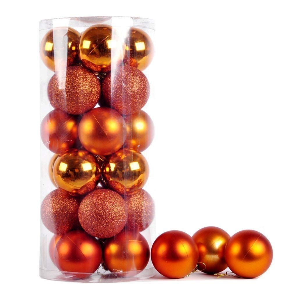 Parties D/écor 40mm Wedding Ornaments Hanger Hooks included 24pcs Christmas Tree Baubles Brown Assorted Christmas Decorations Shatterproof Xmas Tree Balls Pendant Ornament Novelty for Festival Brown, 30mm-24Pcs
