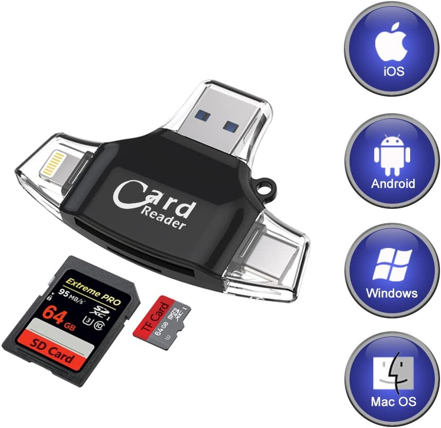 SD Card Reader, Memory Card Camera Reader Adapter for iPhone X and before /  iPad / Android / Mac / PC / MacBook, Trail Game Camera Viewer for TF / SD  Card: