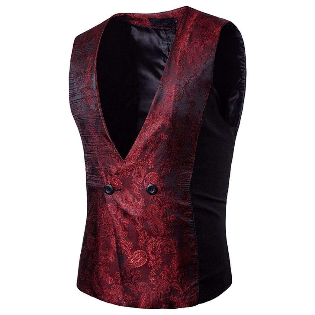 Easytoy Men's Vintage Formal Business Double Breasted Vest V-Neck Waistcoat (Wine Red, XL)