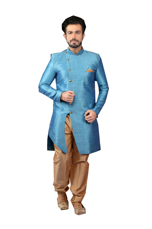 Indian Kurta Pajama Men Wedding Indo-Western Designer Dress Partywear Outfit In Blue Raw Silk