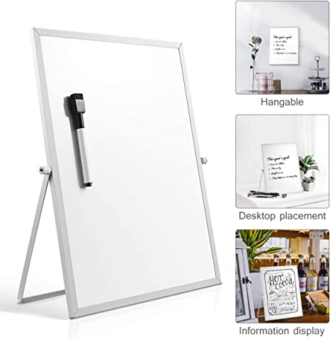 STOBOK Magnetic Dry Erase Board with Stand Magnetic White Board Easel for Kids Desktop Foldable Double Sided Board,11 x 14 Inch