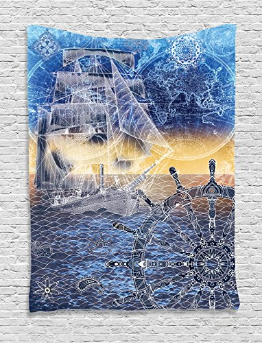 - Ambesonne Home Decor Collection, Nautical Print with Mandala Patterns of Explorer Ship Map of the World Steering Wheel Sails Ocean, Bedroom Living Room Dorm Wall Hanging Tapestry, Blue