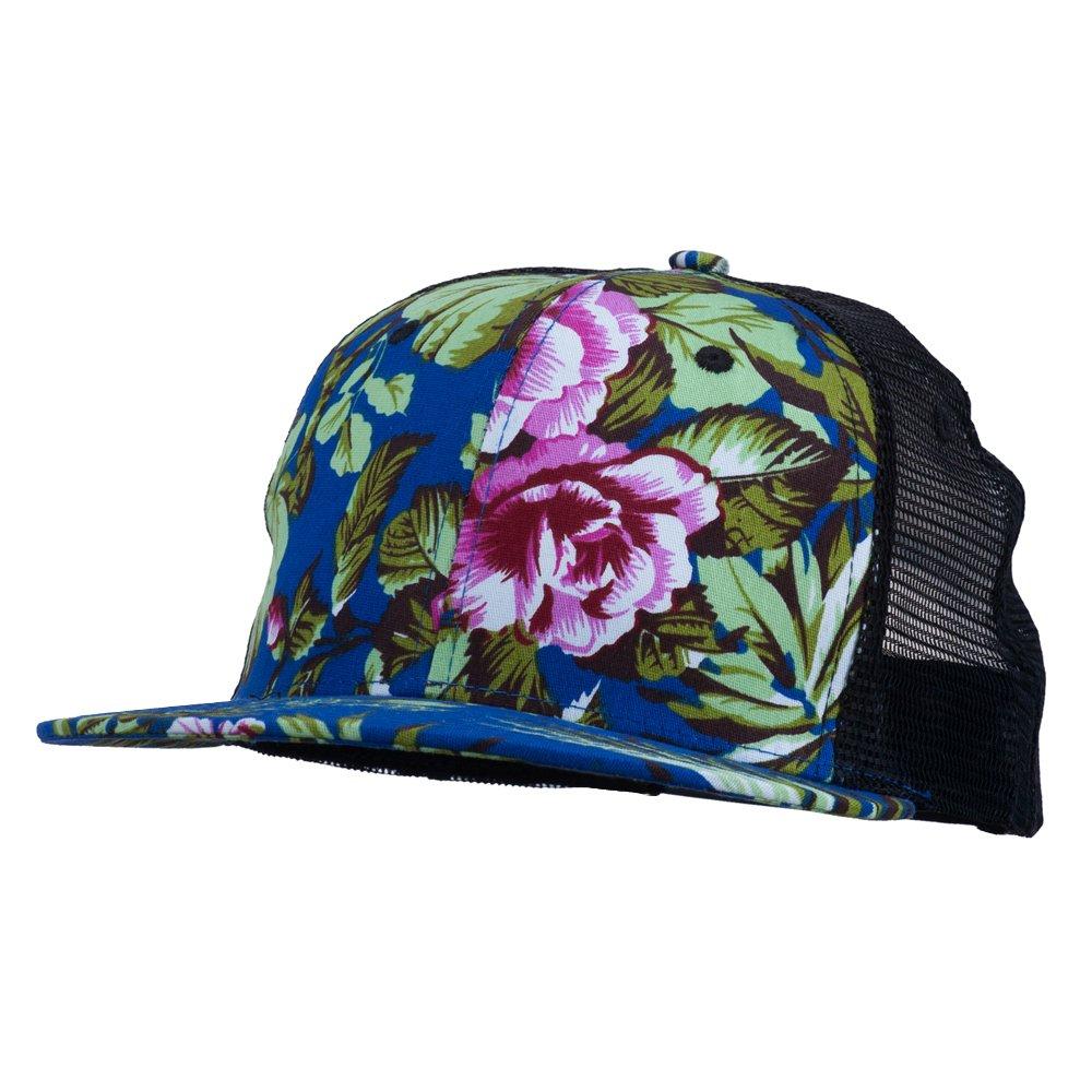 22b1f9358af Floral Print Flat Bill Trucker Cap - Royal OSFM at Amazon Women s Clothing  store