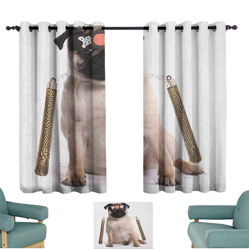 WinfreyDecor Pug Durable Curtain Ninja Puppy with Nunchuk Karate Dog Eastern Warrior Inspired Costume Pug Image Set of Two Panels 72'' Wx45 L Cream Black Gold by WinfreyDecor