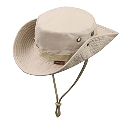 f42e239edeb Amazon.com   Pellor Boonie Bucket Hat Military Fishing Camping Hunting Wide  Brim Bucket Men Outdoor Cap (Khaki)   Sports   Outdoors