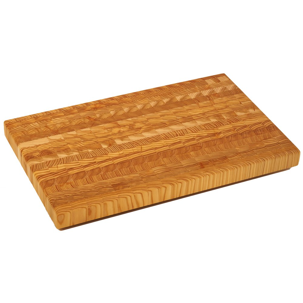 Larch Wood Canada End Grain Large Cutting Board, Handcrafted for Professional Chefs & Home Cooking, 21-5/8 x 13 x 1-3/4 + Larch Wood Beeswax and Mineral Oil Conditioner (1.6 oz/ 45g)