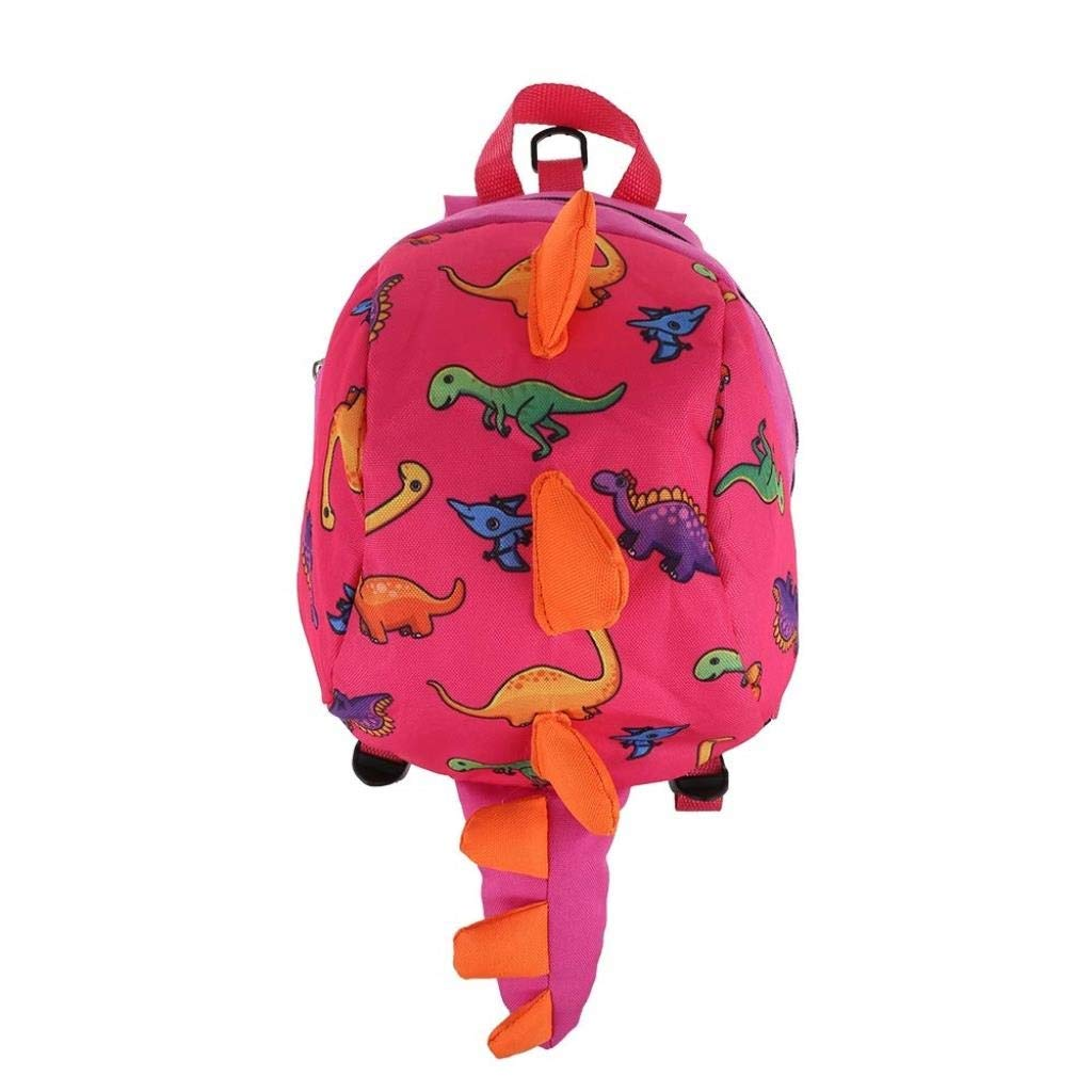 Children's Safety Harness Backpack, Dinosaur School Bag with Anti-Drop Rope, The Strap Can Be Adjustable, Breathable and Comfortable (Color : Pink)