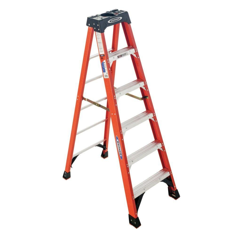 Werner 6 ft. Fiberglass Step Ladder with 300 lbs. Load Capacity Type IA Duty Rating