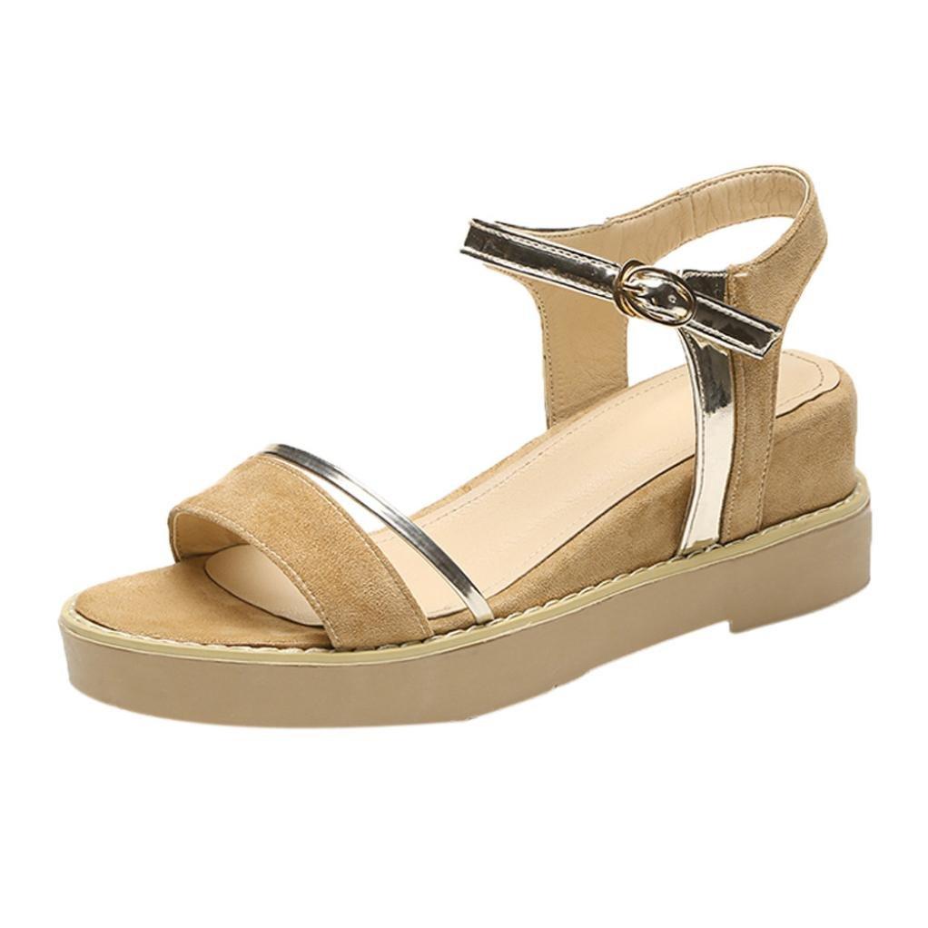 YANG-YI Clearance Summer Women Muffin Fish Head Sandals Platform Simple Sandals (Khaki, US-7)