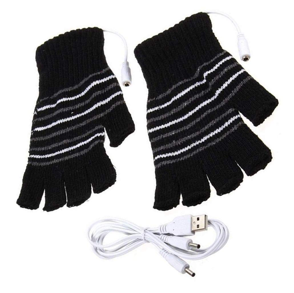 Unisex Winter USB Electric Gloves Black Stripe Pattern Fingerless Heating Heated Knitting Hands Warm Gloves Computer Laptop Heat Glove Mittens Ericotry