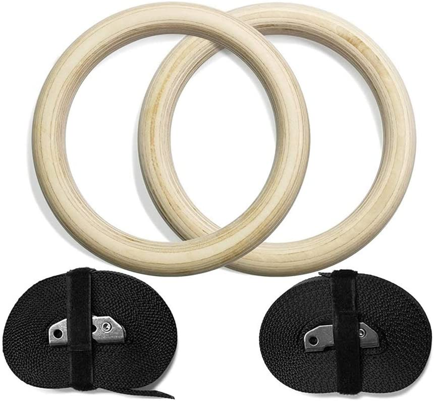 28//32mm Professional Wood Gymnastic Rings Gym Rings with Adjustable Long Buckles Straps Workout for Home Gym /& Cross Fitness A