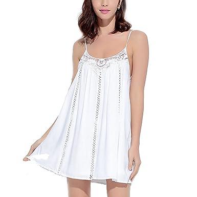 Verano Casa Color Puro Arnés Sin Espalda Costura Vestido Blanco ...