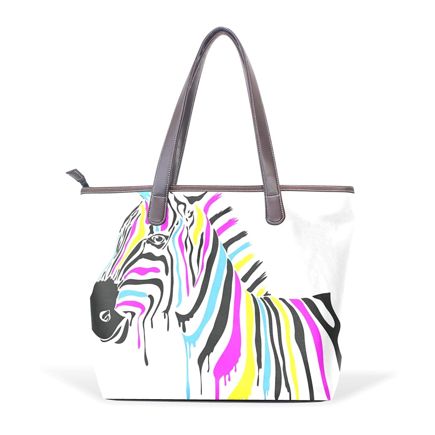 Womens Leather Tote Bag,Art Colorful Zebra,Large Handbag