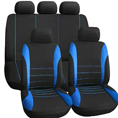 TIROL Seat Covers Universal Rear Split Full Set Blue Airbag Compatible Bucket Seat Cover 9PCS For Most Car,SUV,trucks: Automotive