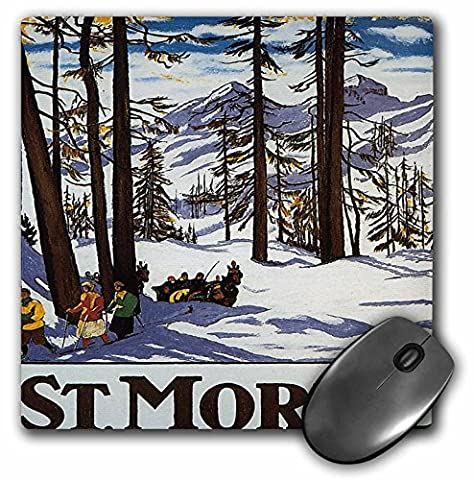 3dRose LLC 8 x 8 x 0.25 Inches Mouse Pad, St. Moritz Winter Scene With People Skiing and Horse Drawn Sleigh - - Mouse Sleigh