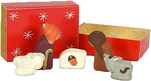 Tamaño pequeño hecho a mano rojo caja de cerillas Belén figura Set: Amazon.es: Hogar