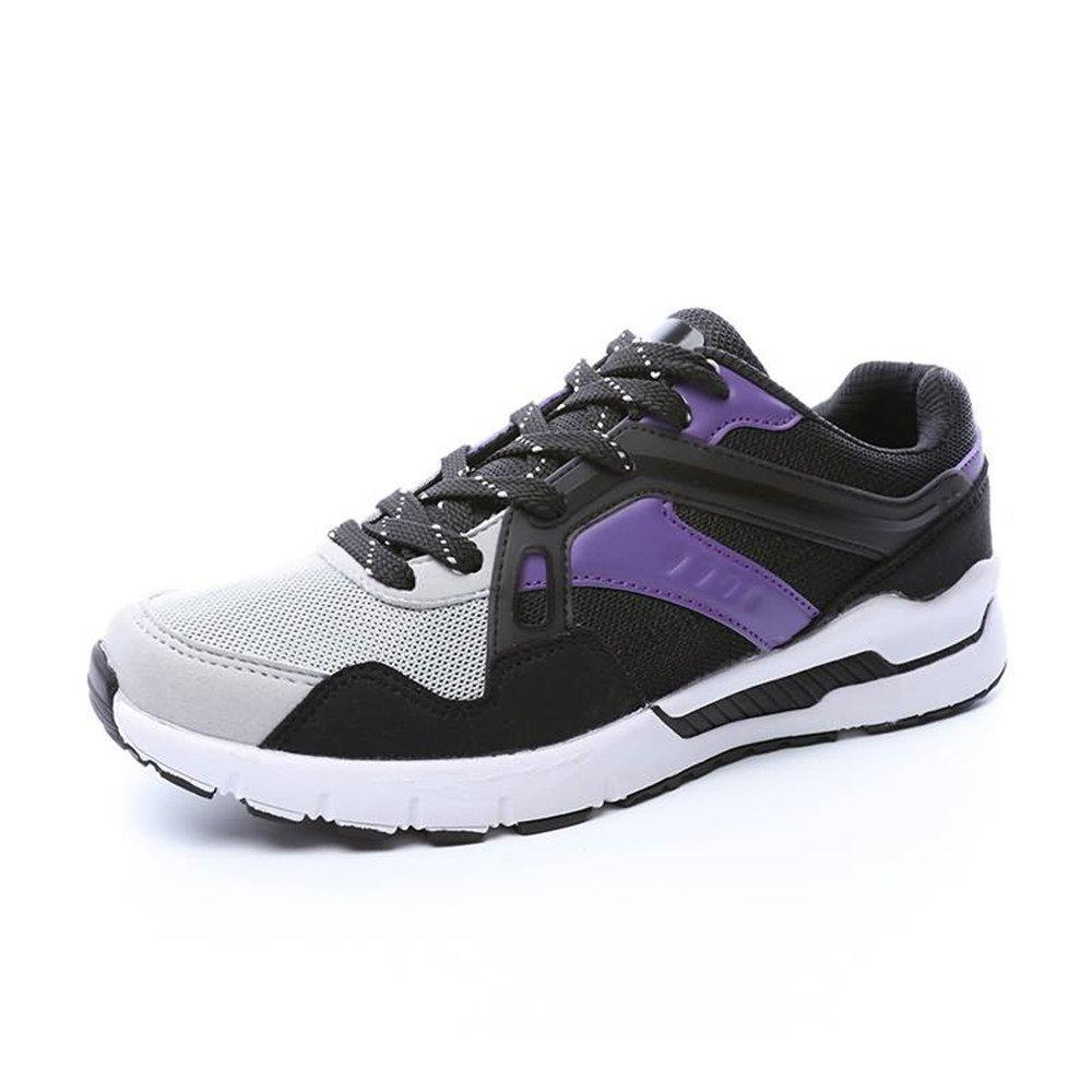 Jiuyue-shoes Automne/Été 2018 Les Femmes et Les Hommes Respirent Le Talon Plat Lacent Les Chaussures d'athlétisme de Loisirs (Color : Black Purple, Taille : 35 EU)