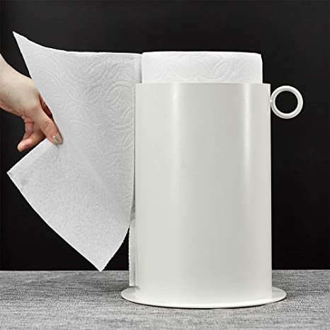 KUNGYO Paper Towel Holder - One-Handed Tearing, Non Slip Weighted Base, Fits