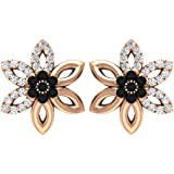 0.11 Ct SGL Certified Black Diamond Cluster Earring, 0.14 Ct Antique Diamond Stud Earring, Women Open Petal Floral Earring, V