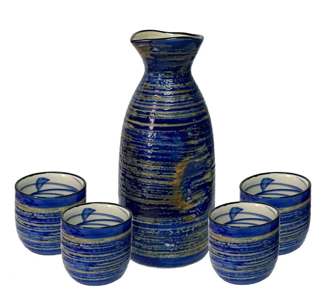 KCHAIN 5PCS Ceramic Sake set with 1pc 9.5oz 280mL Sake Carafe and 6pc 1.7oz 50mL Sake Cups by KCHAIN