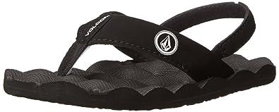 209ea3441f4b Volcom Boys  Recliner Youth Sandal Flip Flop Black White