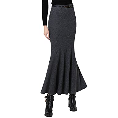 38401fdcbca Image Unavailable. Image not available for. Color: zengfish sexy women  skirts stretch wool slim long ...